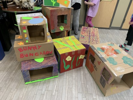 stack of colourful bunny bungalows